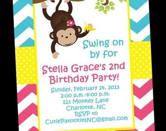 Monkey Birthday Invitation, Monkey Party Invitations, Printable or Printed
