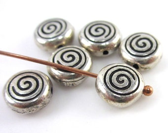 6 Silver TierraCast Spiral Beads