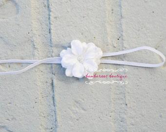 white baby headband, newborn headbands, small white flower, infant headband, toddler headband, baptism headband