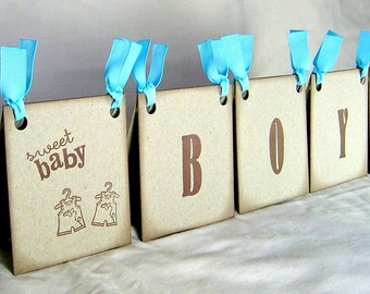 Twin boys baby shower centerpiece, vintage inspired brown and blue baby shower decoration for twins, twin boys sign,  twin boys decor