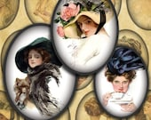 Harrison Fisher's Vintage Beauties Digital Collage Sheet 30mm x 40mm Ovals --Instant Download