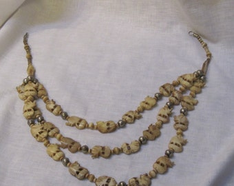 vintage bone carved elephant 3 strand necklace
