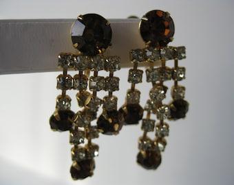 Vintage Hollywood Glamour Rhinestones Screw Back Earrings