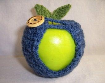 Handmade Crocheted Apple Cozy - Crochet Apple Cozy in  Country Blue