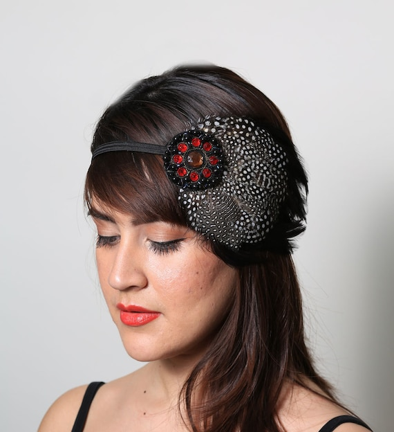 Black Raven Beaded Bohemian Feather Headband - gypsy, hippie, warrior