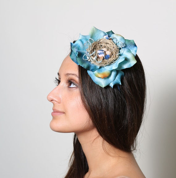 Large Blue Flower Nest  Headband - flowers, eggs, teal, woodland