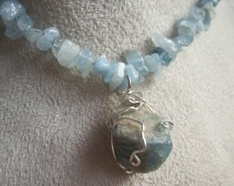 Raw Aquamarine Necklace Blue Beaded Necklace with Crystals Wire Wrap Gemstone Pendant - Aqua Dream