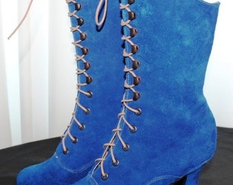 Royal blue Victorian Boots Royal blue Shoes Lace up Boots suede royal blue  leather Ankle boots ORDER your Customized size
