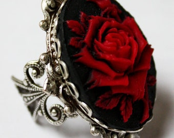 Victorian rose cameo filigree gothic adjustable ring