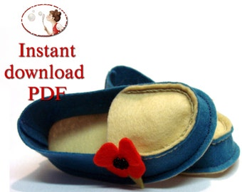 Baby Shoes Sewing pattern - Wool Felt Mocs