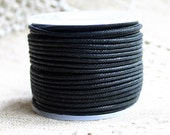 Cotton Cord Black Waxed 0.5mm 25-Meter Spool