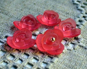 50pcs Frosted Lucite Flower Rose Beads Acrylic 21x8mm Red