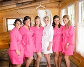 Set of 6 adult 1 child Bridesmaids Bride Maid of Honor Monogrammed Spa Robe front and back embroidery is included