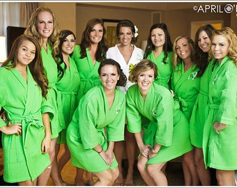 13 Monogrammed Personalized Wedding  Spa Robes Bridesmaids Gift front embroidery is included