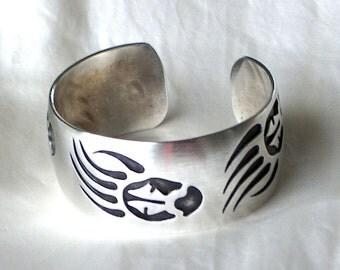 Sterling Silver Navajo Bear Paw Cuff Bracelet