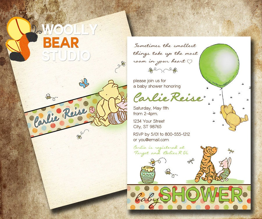 printable classic winnie the pooh baby shower by woollybearstudio