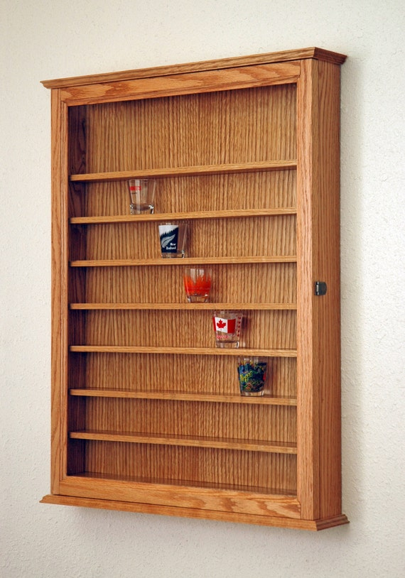 72 Oak Shot Glass Display Case Cabinet