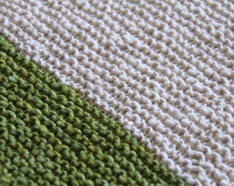Green Hand Knit Organic Cotton Blanket