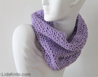Cotton Hand Knit Cowl - Gentle Purple