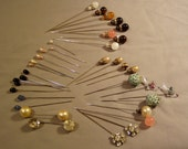 Vintage Lot Hat Pins Stick Pins Lucite Moonstone Sequins Faux Pearls Rhinestones Glass Birds 4275