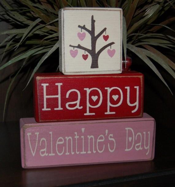 Items Similar To Valentine's Day Blocks Happy Valentine's