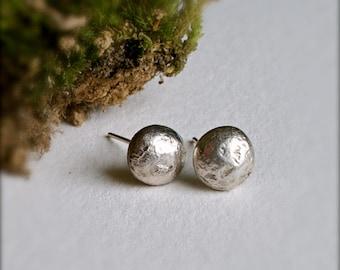Stud Earrings-Recycled Sterling Silver Post Earrings-Pebble Earrings-Eco Friendly Jewelry