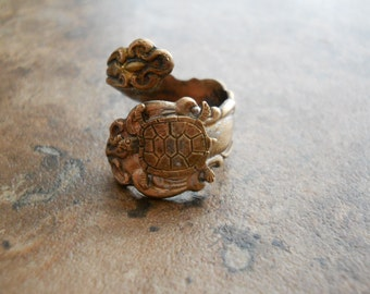 Turtle Spoon Ring in Brass, The ORIGINAL Exclusive Design Only by Enchanted Lockets