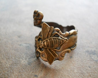 Bee Spoon Ring in Brass, The ORIGINAL Exclusive Design Only by Enchanted Lockets