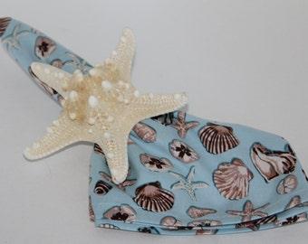 Seashell Blue Cream and Brown Cloth Napkins Set of 4