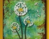 Dandelion Handmade Glass and Wood 5 Inch Square Wall Blox - GeoForms Collection -Believe