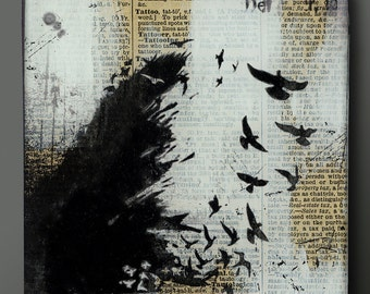 Raven Wing 5, 6, 7 or 8 Inch Square Flat Glass and Wood Wall Blox from Upcycled Dictionary page book art - WilD WorDz - Nevermore 2 of 4