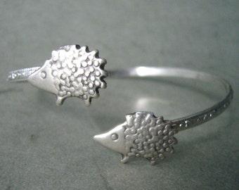 hedgehog bracelet, wrap style, animal bracelet, charm bracelet, bangle