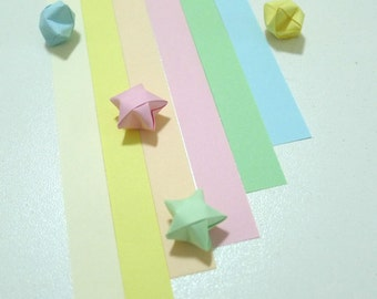 Select Your Color - Baby Pastel Rainbow Shower (6 colors) Origami Lucky Star Paper Strips - pack of 100 strips