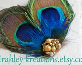 ATREYA  - Peacock Feather Hair Clip Fascinator w/ Cobalt Blue Plumage & Sparkling Gold Beaded Cluster - Perfect for Weddings and Bridesmaids