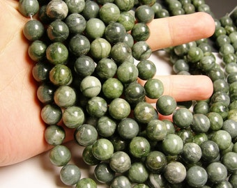 Jade  - 12 mm round beads -1 full strand - 34 beads - A Quality