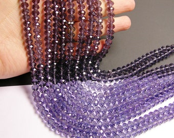Crystal faceted rondelle -  72 pcs -  8 mm - AA quality - Amethyst purple - full strand - RCFNC 3