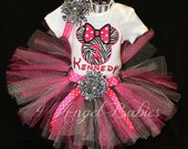 Girls Birthday Tutu Outfit MINNIE Hot Pink Zebra Inspired 3 Piece Glitter First INCLUDES TuTu, Hairpiece and Top Choose Size, Number