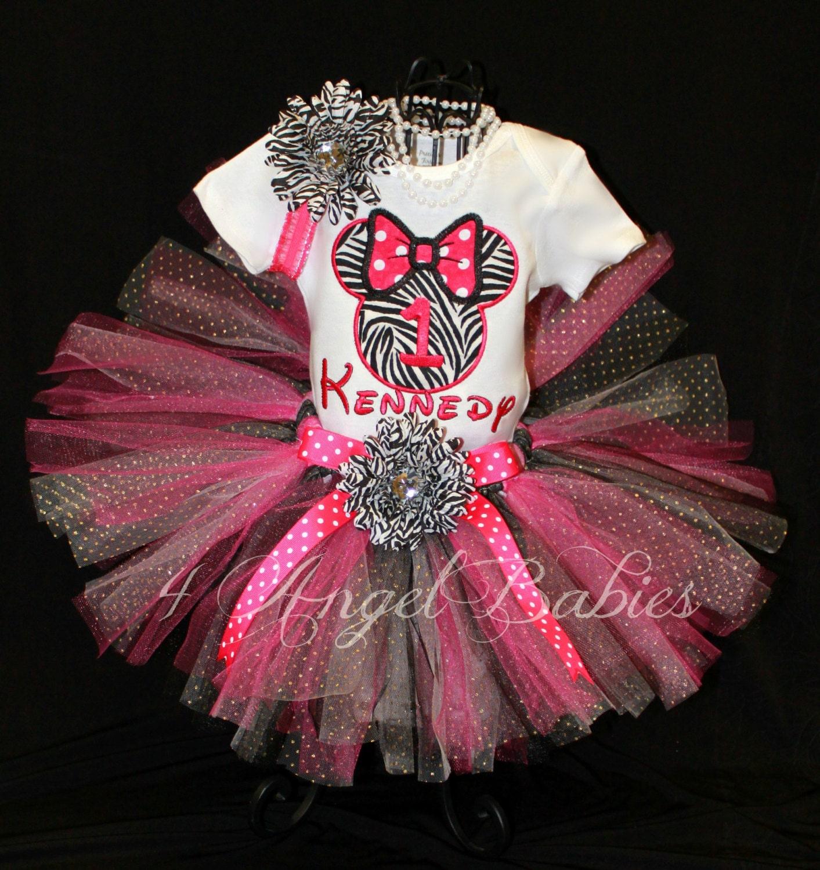 Girls Birthday Tutu Outfit MINNIE Hot Pink Zebra By