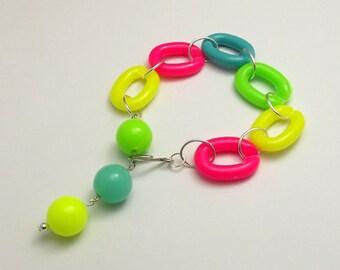 Neon Plastic Link Bracelet, Bright, Pink, Orange, Blue, Green