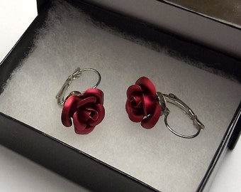 Red Rose Earrings Silver Lever Back in Gift Box