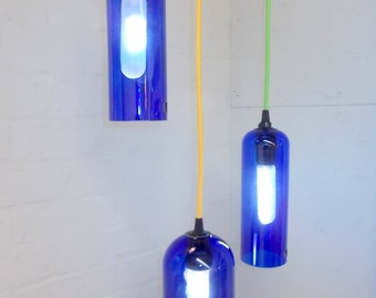 DIY Upcycled Repurposed SKYY VODKA  Hanging Pendant Chandelier Glass Lamp Set of 3 color fabric cord swag light