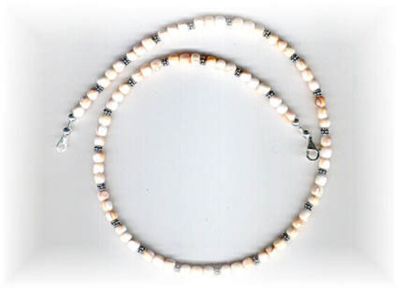Mens / Unisex Mosaic Shell Rounds and Bali Silver Beaded Necklace