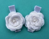 White Flower Hair Clips - Baptism, Christening Hair Bows