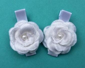 White Flower Hair Clips - Baptism, Christening Hair Bows