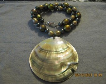 ON SALE: Pearls, Beads, and Shell Necklace