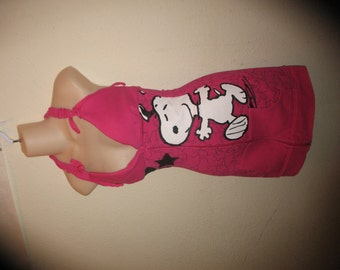 SALE Bright Pink Snoopy Peanuts Stars hearts cut outs Hoodie Halter Tank Top swimsuit cover up mini dress
