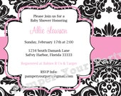 White with Black Damask and Pink Baby Shower Invitation - Baby - Bridal - Birthday PartyPrintable Customized Invitation - Digital Invite