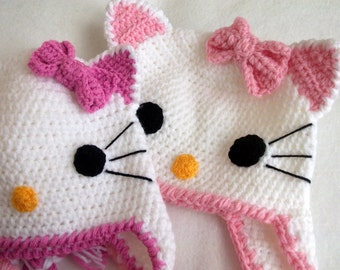 for mother and daughter or twins-2 Crochet Kitty Hat -Crochet Baby  Hat  -Adult size and 16 month old