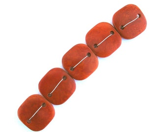 Five Orange Tagua Nut Beads, DD, Flat Square Beads, 22mm Beads, Natural Beads, Organic Beads, Vegetable Ivory Beads, EcoBeads