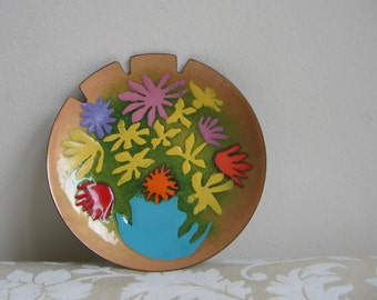 Mid Century Bovano Enamel Round Ashtray Dish Plate Tray With Flowers, Mod Floral Abstract Wall Art